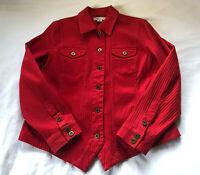 Coldwater Creek Women's 12 Red Stretch Denim Button Up Jacket EC # J012