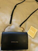 EUC Michael Kors Black Crossbody Bag Jet Set Clutch Wristlet Handbag Purse