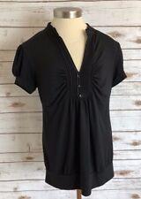 SPEECHLESS Women Short Sleeve Pull Over V-Neck Black Shirt Top Size Extra Large