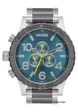 Genuine Nixon Watch NEW 51-30 Chrono Men Gunmetal Aqua Silver A083-2304 NWT