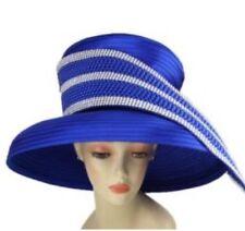 849944ef15a7e NEW Charm NY Royal Blue RHINESTONE HAT CHURCH BLING COGIC DERBY