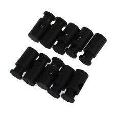 Black Plastic Toggles Stop Drawstring Cord Locks 10 Pcs SS