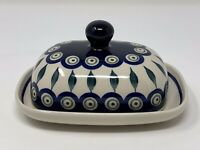 Boleslawiec Polish Pottery Hand Made In Poland Wide Covered Cheese Butter Dish