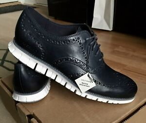 NEW Cole Haan WR Zerogrand Leather Wingtip Shoes Navy Blue/White 9.5M $190