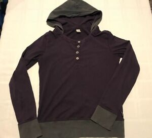 Prana Womens Medium Hooded T-Shirt Long Sleeve Graphic Shirt Purple/Gray TS9