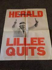 VINTAGE CRICKET AUSTRALIA DENNIS LILLEE PAPER HERALD POSTER QUITS RETIRE NOT WEG