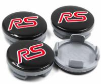 Ford Schwarz Rot RS Logo 4 x 54mm Alufelge Nabenkappen Nabendeckel Satz