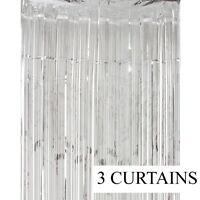 3 Metallic Silver Foil Fringe Curtain Backdrop Party Decor Photo 3ft x 8ft