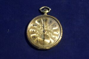 Vintage Movado Swiss Pocket Watch 14K Gold Decorated Case for Parts/Repair