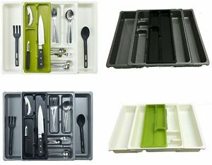 EXTENDABLE 9 COMPARTMENT ADJUSTABLE CUTLERY HOLDER DRAWER TRAY ORGANIZER KITCHEN