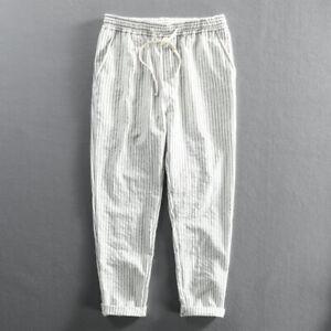 Men Cotton Stripe Pants Kung Fu Tai Chi Sport Casual Elastic Waist Trousers Cosy