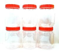 6 PCS RED LID PLASTIC ROUND PET JARS FOOD GRADE ODOURLESS CONTAINERS 100-3000 ML