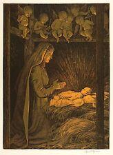 HANS THOMA - Maria an der Krippe (Weihnachten) - Farblithografie 1903