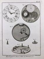 Horlogerie 1765 Montre à Roue Rencontre Gravure Encyclopédie Diderot Watchmaking