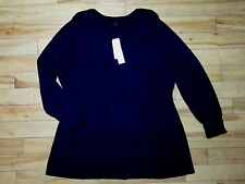 NEW Calvin Klein 1X Cotton Tunic Shaped Long Sweater Top Navy Blue Cat Rescue