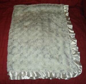 Parents Choice Gray Minky Soft Faux Fur Plush Baby Blanket Ruffled Edge