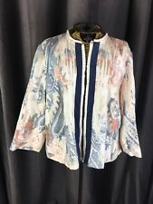 Chicos Blazer Size 2 Large Paisley Linen Blend Jacket Career Open Front Raw Trim