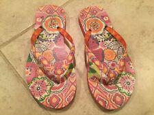 Vera Bradley US Womens Size 5-6 Flipflops Pink/Orange Impressionista Floral