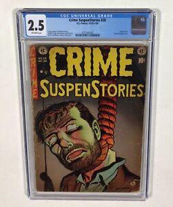 Crime SuspenStories #20 CGC 2.5 KEY! (SOTI Classic hanging cover) 1953 EC Comics