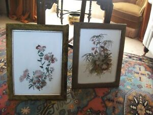"""PAIR VICTORIAN OIL PAINTING FLORAL ON OPAQUE GLASS PANEL 18"""" X 15"""" VELVET FRAMES"""