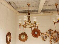 1950' Lustre Bronze et Laiton Avec Flèche Arbus ou Maison Jansen 6 Lampes