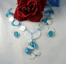 Avon Shell Beaded   Necklace &  Earrings Set CAT RESCUE