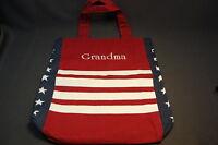 Americana GRANDMA Monogrammed Cotton Tote Shoulder Bag