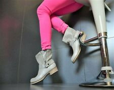New Designer Ladies Shoes Biker Boots Ankle Boots With Crystals Khaki/Silver