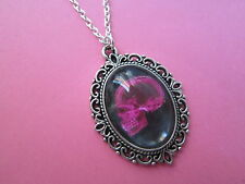 Black and Pink X-Ray Skull Silver Plated Necklace New in Gift Bag Gothic