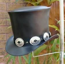 GENUINE BLACK LEATHER ROCK GIG GUNS N ROSES SLASH STYLE MENS TOP HAT HEAVY METAL