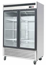 "New Commercial 55"" Glass 2 Double Door Freezer Reach In Merchandiser Cooler"