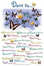 DARE TO - MOTIVATIONAL LIST POSTER - 24x36 BUTTERFLIES CUTE 22163