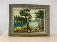 Vtg 1961 CA Artist Karl Weidhofer Oil Canvas Board Painting Lakeside Landscape