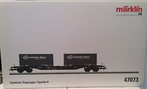 Märklin HO Container Flat wagon With Two Gebruder Weiss Containers CAT 47073