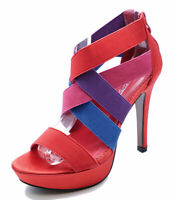 LADIES RED GLADIATOR HIGH-HEEL STRAPPY STILETTO PEEP-TOE SANDALS SHOES UK 2-7