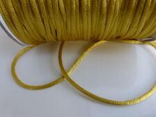 10 metres (10m) x Gold 2mm Rattail Rat Tail Satin Nylon Threading Beading Cord