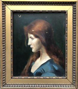 Huile s/ Toile Portrait de Femme Rousse dlg Jean-Jacques HENNER Peinture XIXème