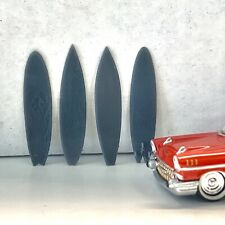 Resin Set of 4x Surfboards Surfing Fire Flames Generic w Fins Diorama 1/64