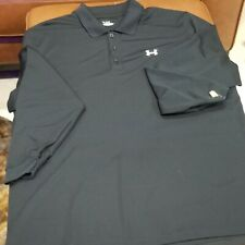 NEW Under Armour BLACK/BLUE Long Sleeve Poly Blend Polo Shirt Mens Size XXL