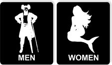 Funny bathroom sign set 8 1/2 X 10 RESTROOM SIGN Aluminum pirate mermaid seafood