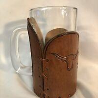 Texas Longhorns Beer Mug with Leather Sleeve Longhorns logo Drinking Mug