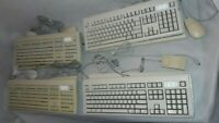 Lot of 8 Vintage Apple Macintosh M2980 Keyboards + 5 Mouse, Built in Power Cord