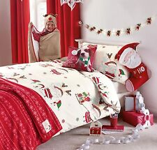 Christmas Santa & Elves Skating Printed Single Bed Set - Duvet & One Pillow Case