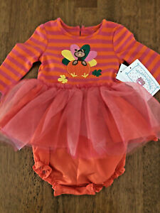 Marmellata Girls Size 3-6 Months Orange and Pink Turkey Dress with Diaper Cover
