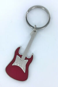 Red Guitar Keychain, metal, boxed, electric guitar, matte finish