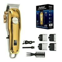 KM-1986Z Electric Hair Clipper LCD Display Professional Cordless Trimmer Gold