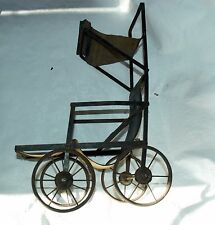 Antique Folding Metal Doll Buggy Carriage Late 1800's