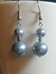 Blue pearl drop dangly earrings