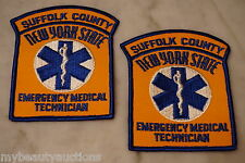 2 Suffolk County New York State Emergency Medical Technician Patches. EMT Patch.