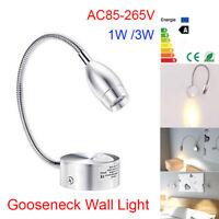 Flexible 1W 3W Hose Gooseneck LED Wall Light Sconce Bedside Mounted Reading Lamp